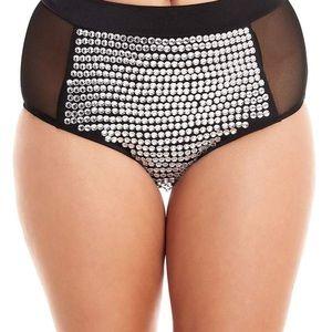 Rhinestone High Waisted booty rave shorts